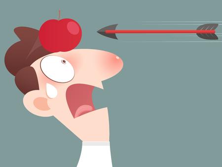 taking risks: Risk management concept, arrow hitting an apple on a businessmans head Illustration