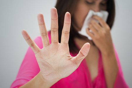 Flu cold or allergy symptom Stock Photo