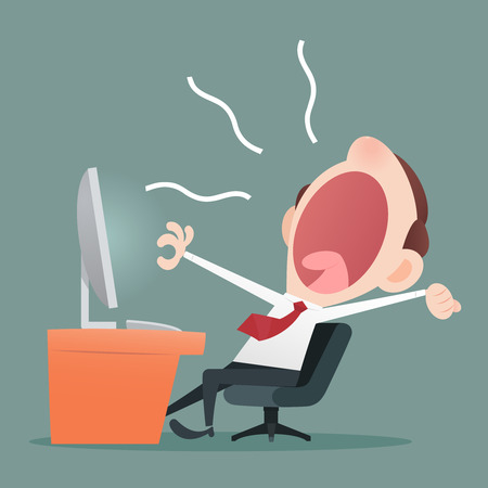 open mouth: Young business man yawning in the executive chair Illustration
