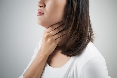 Sore throat woman Stok Fotoğraf