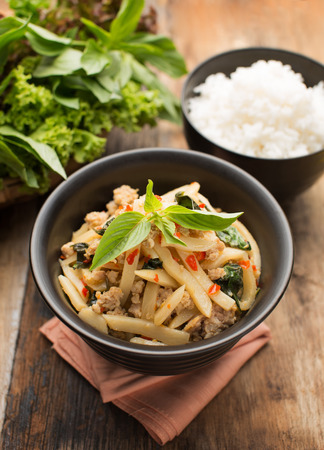 southern thailand: Pad Nor Mai, STIR FRIED BAMBOO SHOOTS WITH PORK