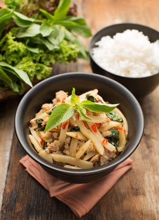 thailand food: Pad Nor Mai, STIR FRIED BAMBOO SHOOTS WITH PORK