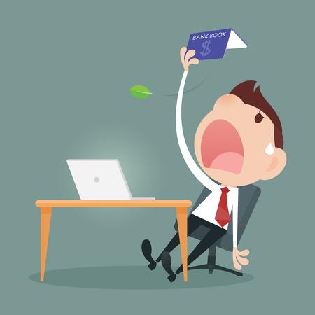 losing money: Businessman losing money from a bookbank Illustration