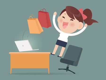 幸せな女のオンライン ショッピング 写真素材 - 43821679