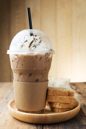 blended: Iced coffee on wooden table