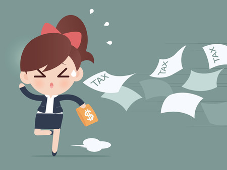 away: Business woman running away from tax Illustration