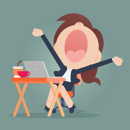 Young business woman yawning Stock Illustratie