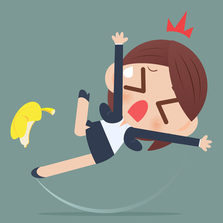 Business woman slipping and falling from a banana peel Stock Illustratie