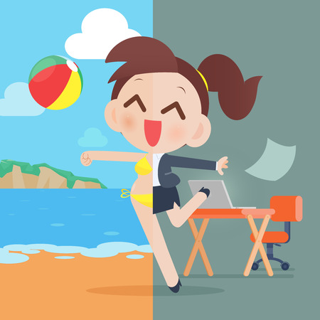 passive: Business woman relaxing, eps10 vector format
