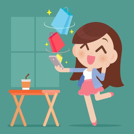 幸せな女のオンライン ショッピング  イラスト・ベクター素材