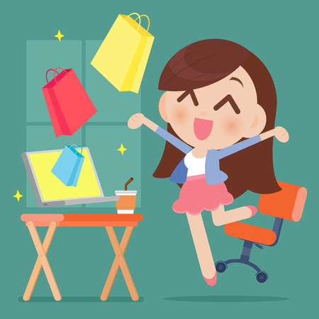 happy woman: Happy woman shopping online