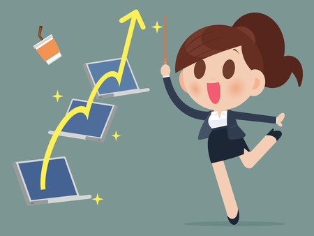 stock illustrations: Successful business woman from playing the stock