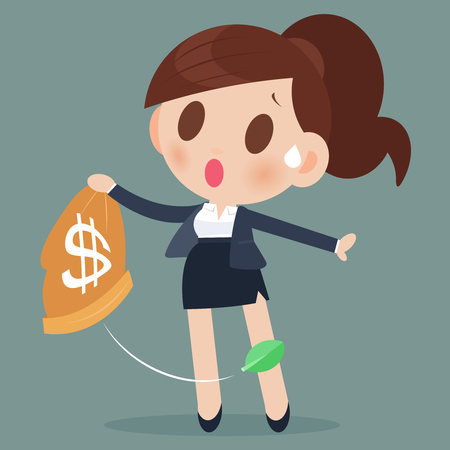Business woman losing money from a bag Çizim