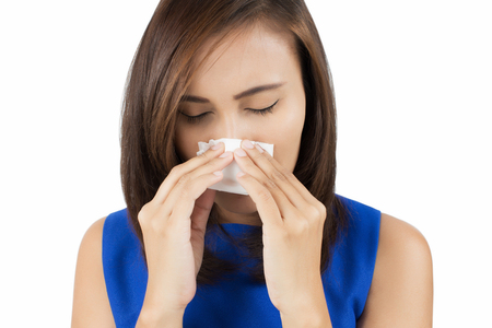 holding nose: Flu cold or allergy symptom Stock Photo