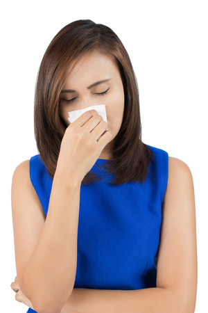 cold background: Flu cold or allergy symptom on white background Stock Photo