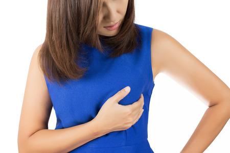 senos: Autocomprobación El cáncer de mama aislados en fondo blanco Foto de archivo