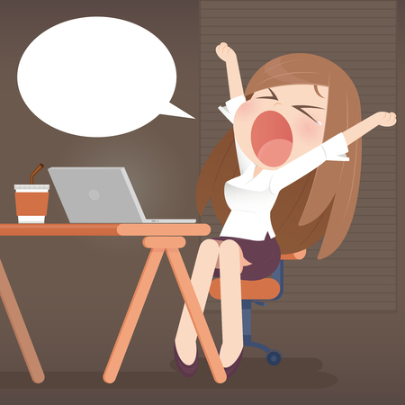sleepy woman: Young business woman yawn