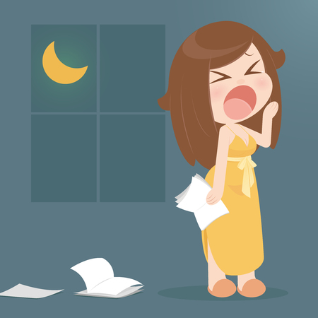 letting: Illustration featuring a woman in nightgown letting out a big yawn