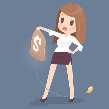 save money: Business woman losing money from a bag Illustration