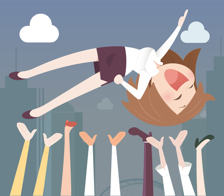 success business: Business woman being thrown in the air Stock Photo