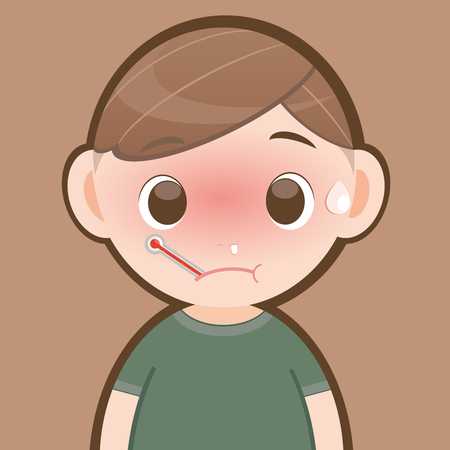 snot: Sick boy with thermometer in his mouth. Vector flat illustration Illustration