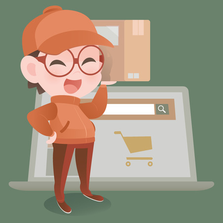 sell: Delivery man, Online shopping Illustration