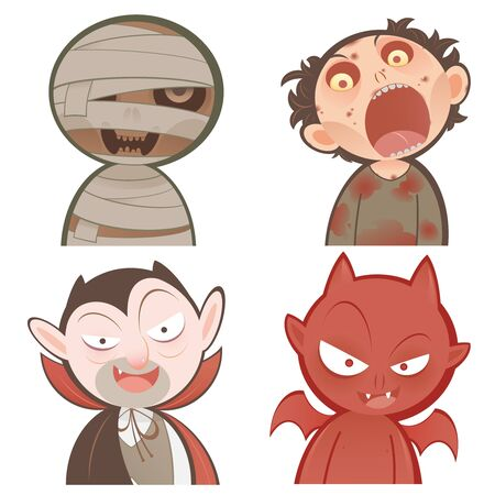 Cute cartoon halloween characters icon set. mummy, Zombie, Dracula, Devil.