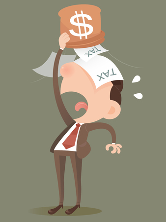 saving: Businessman losing money from a bag