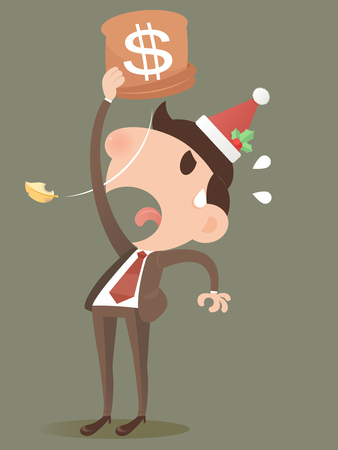 business money: Businessman losing money from a bag