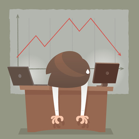 cartoon bank: Depressed Businessman Leaning His Head Below a Bad Stock Market Chart, Red arrow collapse Illustration