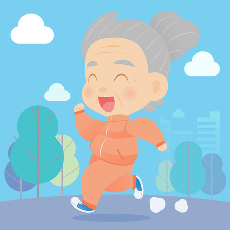 woman smiling: Senior aged woman jogging in the park, Vector catoon