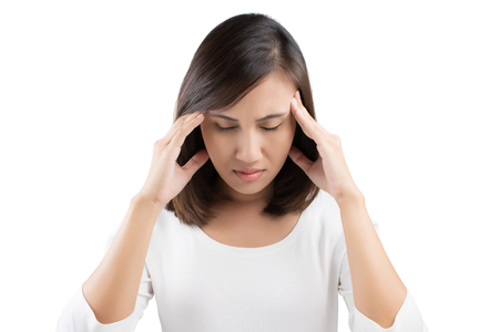 impotent: Woman having a headache on white background Stock Photo