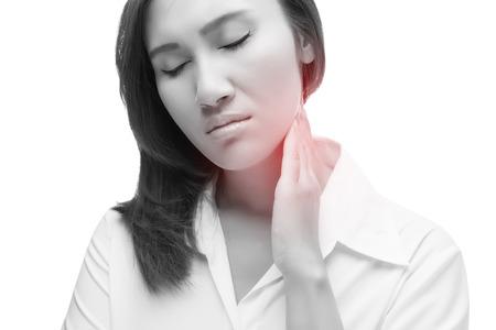 lymph: Sore throat woman, lymph node at neck