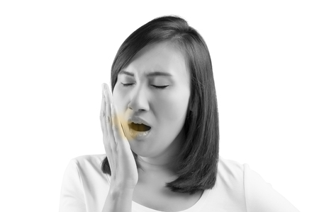 Yawning tired woman isolate on white background