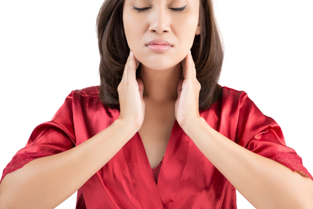 Sore throat woman isolate on white background Standard-Bild