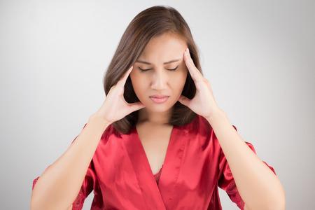 ruminate: Beautiful young woman portrait Headache depression stressed tired