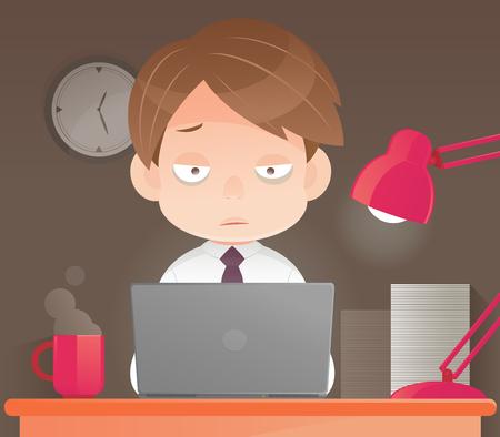 Zakenman werken overwerk 's avonds laat in het kantoor, Sleepy