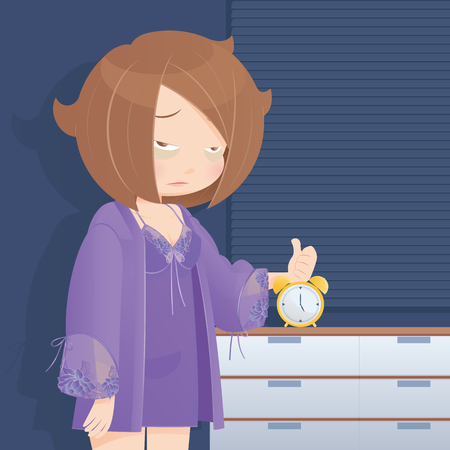 Drowsy girl waking up in the morning, Cartoon illustration