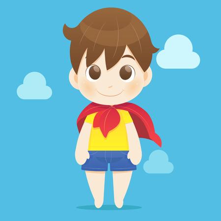 yellow shirt: Child pretending to be a hero