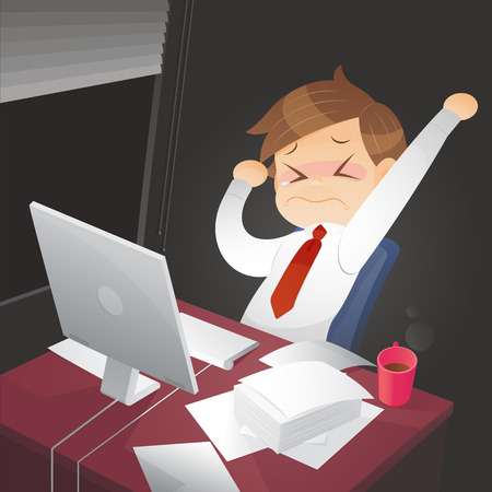Businessman working overtime late night in office