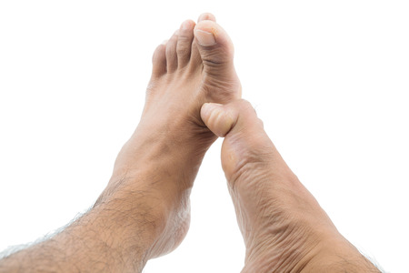 big toe: itchy feet uses his big toe to scratch his other foot