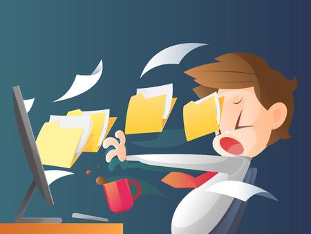 despacio: De negocios que trabajan horas extras la noche tarde en la oficina Vectores