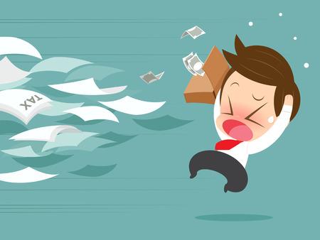 evade: Businessman running away from tax Illustration