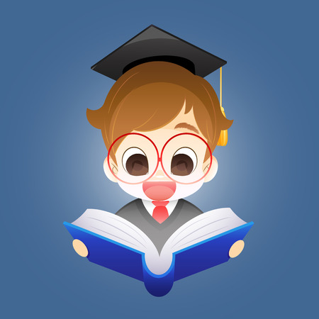 Muchacho con un libro, chico sobre un fondo azul que sostiene un libro abierto