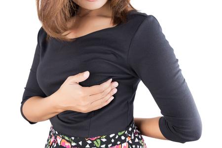 Brustkrebs-Selbsttest auf weißem Hintergrund