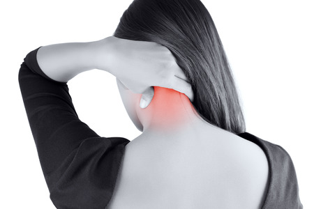 thai stretch: woman having pain in the back and neck,Pain in the back Stock Photo