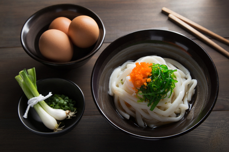 japanese cuisine: Udon Noodles in a soup base with scallions known as Kake udon or Su udon in Japanese cuisine