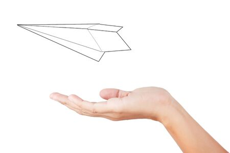 folded hands: Woman hand launching white paper airplane isolated on white background.