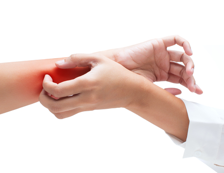 Scratch the itch with hand, Arm, itching, Concept with Healthcare And Medicine.