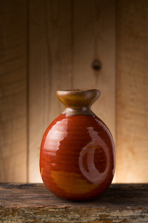 Japanese Sake drinking set on wood texture background Stock Photo